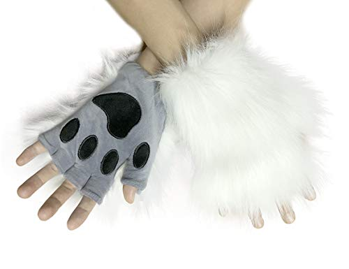 Fox Tail Clip Cat Ears Wolf Paws Gloves Cosplay CostumeHalloween Fancy Party Costume Accessories