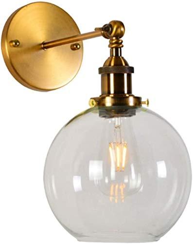 Lámparas de pared industriales, Luz de pared antigua latón cepillado ángulo regulable solo E27 zócalo de metal lámpara de pared de vidrio interior nórdico americano decoración de hotel dormitorio casa