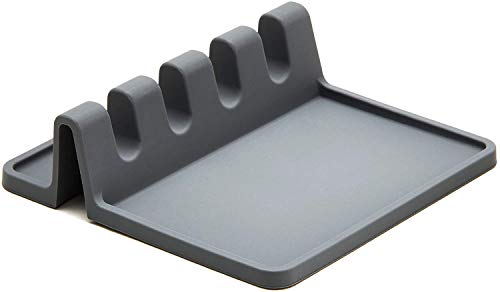 Silicone Spoon Rest for Kitchen Counter, Utensil Rest for Countertop while Cooking, Spoon Holder for Stove Top, with Drip Pad for Multiple Utensils, Heat-Resistant, BPA-Free (grey)
