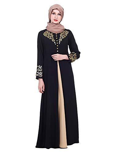 TAAMBAB Frauen Maxi Lang Abaya Kleid Moroccan Kaftan - Langarm Gebetskleid Jilbab Kleider Islamischer Moslemischer Türkischer Arabischer Mantel Gewand