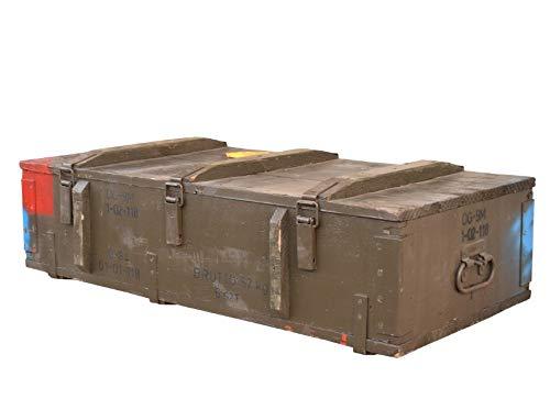 Vintage Möbel 24 GmbH XXL-Munitionstruhe Typ PG-15 aus Holz, 103x48x21 - Militär Truhe Offizierskoffer Aufbewahrungskiste Munitionsbox Militaria