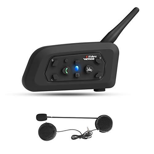 Vnetphone V6 Intercomunicador Casco Moto Bluetooth 1200m Auriculares Bluetooth para Motocicletas hasta 6 Motolistas Reducción de Ruido DSP Impermeabilidad