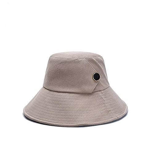 Sombrero Pescador Gorras Hombre Mujer 2021 Primavera Y Verano Nuevo Sombrero De Pescador Coreano Diseño De Botones Sombrero De Lavabo Moda Sombrero para El Sol Estudiante Femenino-Khaki_One_Size