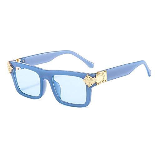 ZZOW Gafas De Sol Cuadradas Únicas De Moda para Mujer, Diseñador De Marca, Color Caramelo, Lentes Transparentes con Gradiente, Gafas De Sol para Hombre, Gafas Uv400