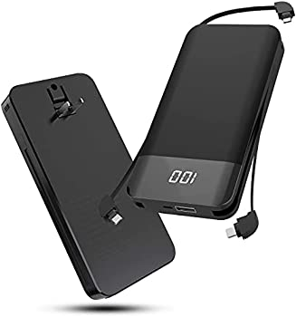 10000 mAh Battery Packs Phones Portable Charger Pack Wireless Chargers Power Bank Fast Charging Ultra Slim External Battery with Built in AC Plug Type-c Cable Micro Cable for Cell Phone Android