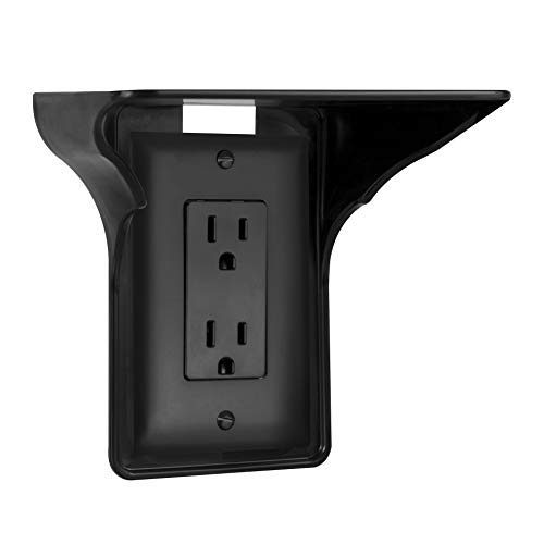 Power Perch - 1pack (black) - The Ultimate Outlet Shelf For Your Home - No Additional Hardware Required with Damage Free Installation - As Seen On The Today Show by STORAGE THEORY