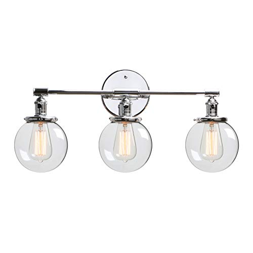 Phansthy 3 Lights Sconce Chrome Polished Bathroom Vanity Light Fixture with Three 5.6 Inches Globe Glass Canopy, Chrome Polished