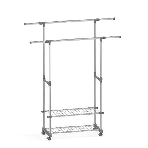 stardis Clothes Rack on Wheels with Shelves Extendable Height Adjustable Double Stainless Steel Clothes Rail Grey Sturdy Heavy Duty Coat Stand Clothes Trolley W 90-153 x D 42 x H 95-170cm