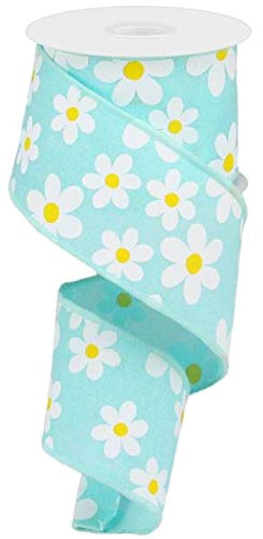 Daisy Flower Canvas Wired Edge Ribbon, 10 Yards (Robins Egg Blue, 2.5