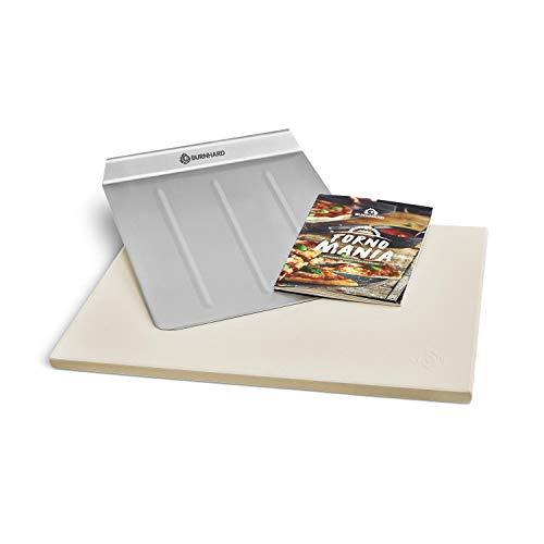 Burnhard Pizzastein und Pizzaschaufel für Gasgrill & Holzkohlegrill aus Cordierit und Edelstahl für Brot, Flammkuchen & Pizza, rechteckig - 45 x 35 x 1,5 cm