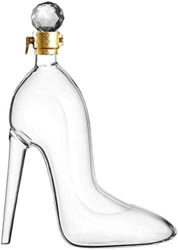 WJJ Botella de Whisky Cristal Decantador De Whisky Tacones Altos Modelado De Alta Capacidad Buena Sellado - Aerador De Vino De Cristal Para El Cristal Artesanal Brandy Tequila Bourbon Scotch Rum, 350m