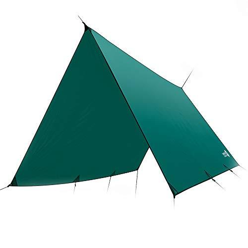 Easthills Outdoor Dragonfly Ultraleichte, wasserdichte PU 2000 mm 15D Ripstop Silnylon Allwetter-Hängematte Regenschutz Plane Extra großes Regenfliegenzelt Plane für Camping, Green-Flat Cut, XL
