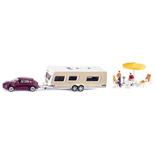 SIKU 2542, PKW mit Wohnwagen, Figuren und Campingausstattung, 1:55, Metall/Kunststoff, Multicolor, Inkl. Figuren und Campingausstattung