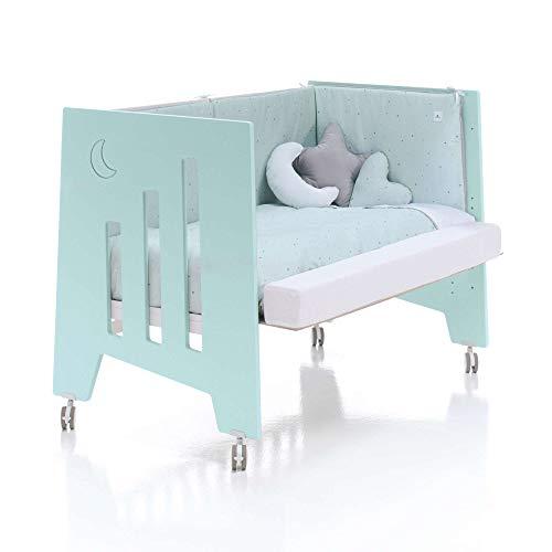 ALONDRA - Cuna bebé de COLECHO (3en1) OMNI Verde Mint 120x60 convertible en 3 etapas: cuna, colecho y escritorio, con 5 alturas de somier y ruedas C181-M7755, pack OMNI-K10