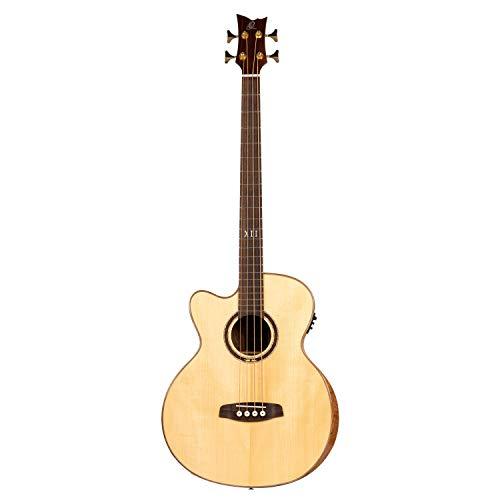 Ortega Guitars Private Room Series Akustikbass 4 String Medium Hals Preamp Lefty - inklusiv eingebautem Armrest, Tasche und Gurt (STRIPSU.ACB-L)