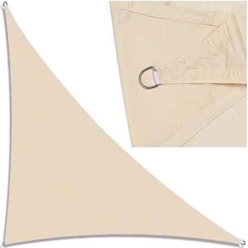 GDZHL Toldo Vela de Sombra Triangular, Impermeable Transpirable Protección Rayos UV Vela de Sombra, para Patio, Exteriores, Jardín (2.4x2.4x2.4m,Beige)