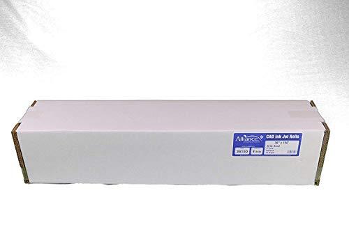 "Alliance Wide Format Paper 36"" x 150' CAD Paper Rolls 92 Bright 20lb - 4 Rolls Per Carton - Ink Jet Bond Rolls with 2' Core (36150)"