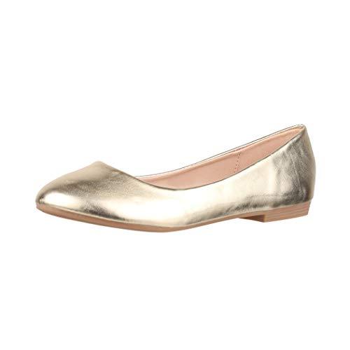 Elara Damen Ballerina Bequeme Slip Ons Flach Chunkyrayan B3039H BL Gold 41