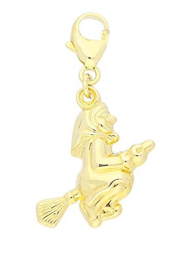 MyGold Hexe Anhänger (Ohne Kette) Gelbgold 333 Gold (8 Karat) 25mm x 16mm Glanz Karabiner Sammel Charm Halskette Damenkette Geschenk Für Frauen Weihnachtsgeschenk Little Witch A-03809-G301