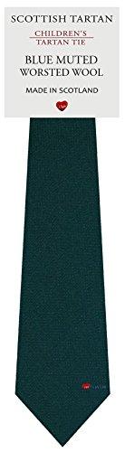 I Luv Ltd Garçon Tout Cravate en Laine Tissé et Fabriqué en Ecosse à Plain Muted Blue