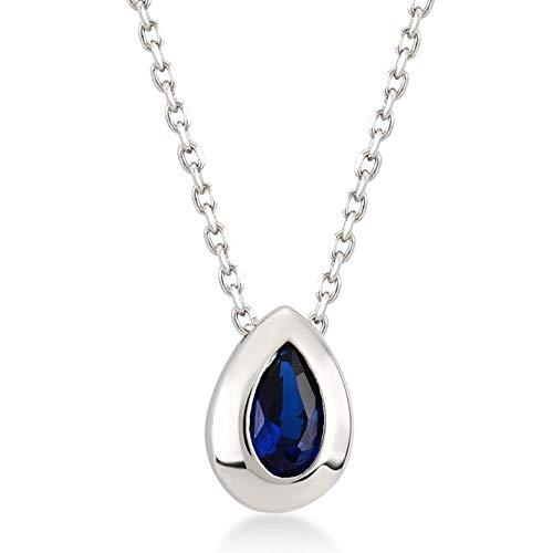 Gelin Damesketting van 14 karaat 585 echt witgoud met smaragd donkerblauw solitaire steen hanger ketting 45 cm