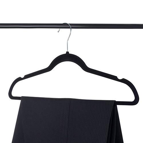 Clenp Kleiderbügel, 20 Stück, hochwertige Samt-Kleiderbügel – ultradünn, rutschfest, platzsparend, Kleiderbügel für Kleiderschränke, schwarz