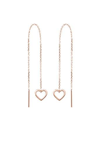 Corazones pequeños, Pendientes de cadena de oro, Pendientes de oro de 9K 14K 18K, Oro rosa, Regalo de amor para ella, Pendientes largos románticos, Regalo para mujer/code: 0.002
