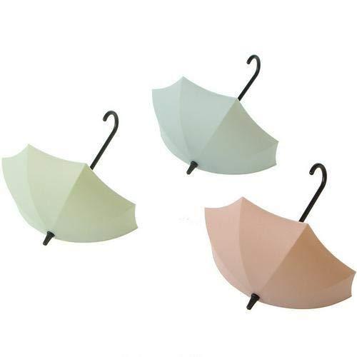 3 stks/partij Multifunctionele Paraplu Vorm Sleutelhanger Rack Home Decoratieve Houder Wandhaken voor Keuken Badkamer Accessoires Gadget Pink Green Blue