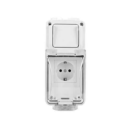 Enchufe con interruptor de alimentación impermeable para exteriores, resistente a la intemperie Enchufe de enchufe a prueba de agua con clasificación IP66, tomacorriente de corte de 16 amperios