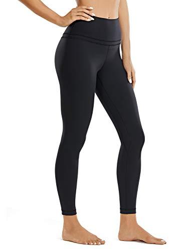 CRZ YOGA Mujer Naked Feeling Deportivos 7/8 Leggings Yoga Fitness Pantalon de Cintura Alta con Bolsillos-63cm Negro-R009 36