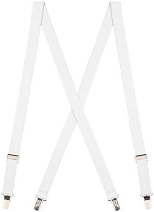 SuspenderStore Men s 1 Inch Wide Clip Suspenders X Back WHITE product image