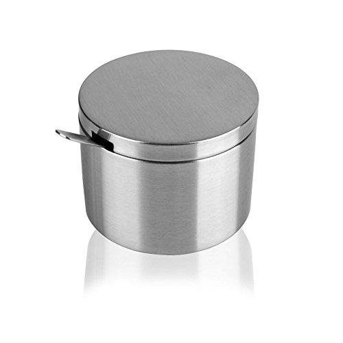 DKOSHDUISHKG Ciotola dello Zucchero dell'Acciaio Inossidabile,Sale Shaker Ampolla Corpo Diritto Rotondo con Il Vaso di Condimento del Cucchiaio Spice Box Condimento
