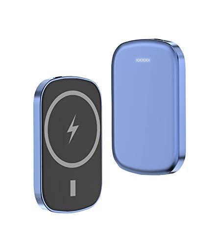 sgoseye Cargador Inalámbrico mag-Safe Power Bank, Cargador Magnético Portátil 5000Mah, PD20W + 15W Carga Rápida Inalámbrica, para IPhone12 12Pro MAX Mini Batería Externa Magnética (Azul)