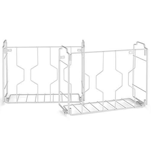 2 Pack- Simple Trending Over the Door/Wall Mount Cabinet Door Organizer Holder in Kitchen or Pantry for Cutting Board, Aluminum Foil and Plastic Wrap, White