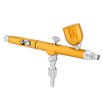 wosume 【𝐒𝐩𝐫𝐢𝐧𝐠 𝐒𝐚𝐥𝐞 𝐆𝐢𝐟𝐭】 Multi-Purpose Airbrush Kit Dual Action Gravity Feed Airbrush Gun 0.3mm Spray for Art Tattoo Nail Makeup Cake Spray Modeling Tool Yellow