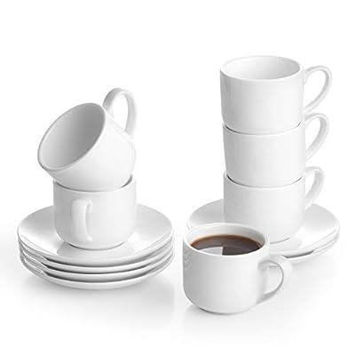 LIFVER Stackable Espresso Cups with Saucers, 2.5 oz Porcelain Demitasse Cups, Espresso Set of 6, White