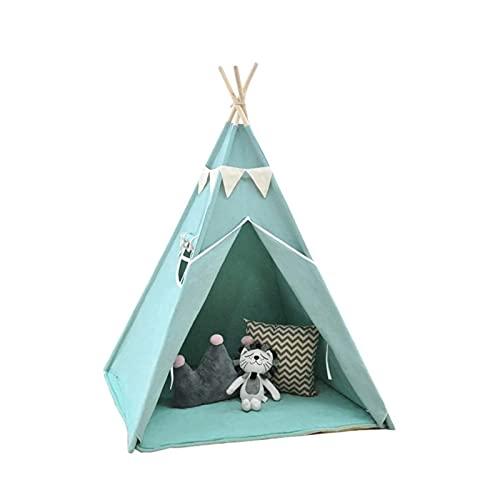 UNU_YAN Modern Simplicity Canvas Tent Azul Indoor Fotografía Infantil Tienda Teepee para Niños Niños Niños Bebés Juguetes para Niñas/Niños Niños (Color: Azul)
