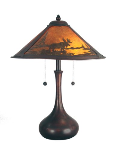 Dale Tiffany TT80484 Animals/Insects Two Light Table Lamp from Classic Mica Collection Dark Finish, 17.00 inches, Antique Bronze