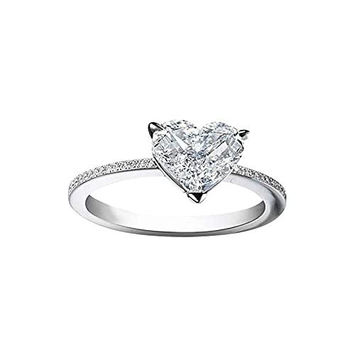 chaosong shop Swyss - Anillo de compromiso con diamantes en forma de corazón para mujer