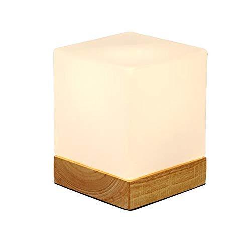 IJ INJUICY INJUICY Mini Cube tafellamp glas schaduw & wooden basis moderne bedside Desk Lamp voor Bedside Bedroom Living Dining Room Cafe Bar Hallway Decor