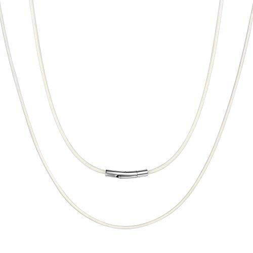 Collar Cordón para Hombres Mujeres 2MM Collar Flexible Cuero Trenzado Cierre Metal Color Blanco 16 Pulgadas Cuerdas Cadena de Cera SOGA para Colgantes