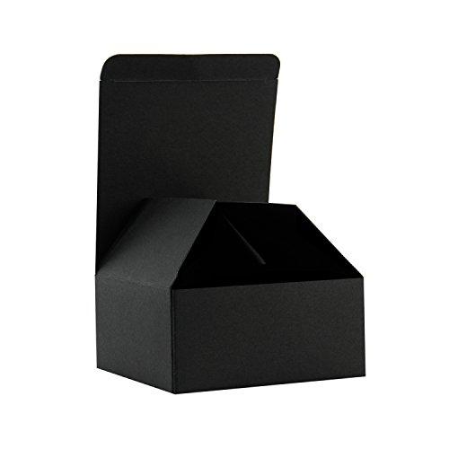 RUSPEPA Cajas De Regalo De Cartón Reciclado - Caja De Regalo Pequeña con Tapas para Pulseras, Joyas Y Regalos Pequeños - 10.5X10.5X5.2 cm - 30 Paquetes - Negro