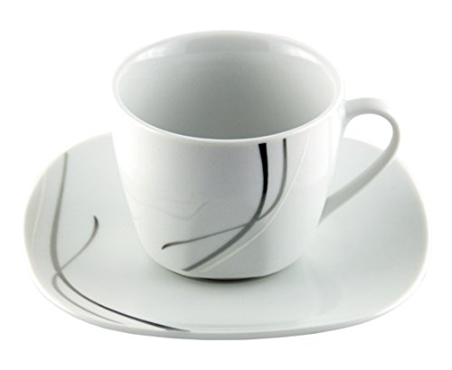 VAN WELL Kaffeetassenset - 4 x Tasses à café de 20 cl et 4 soucoupes 14,5 cm Silver Night