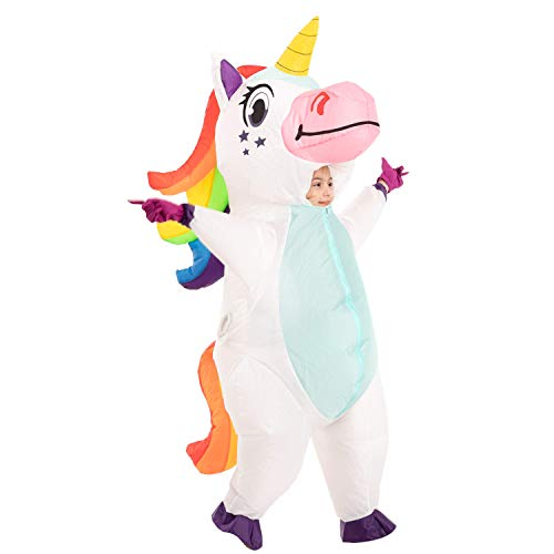 Spooktacular Creations Inflatable Halloween Costume Full Body Unicorn Inflatable Costume - Child Unisex S (White, Child (4-6))