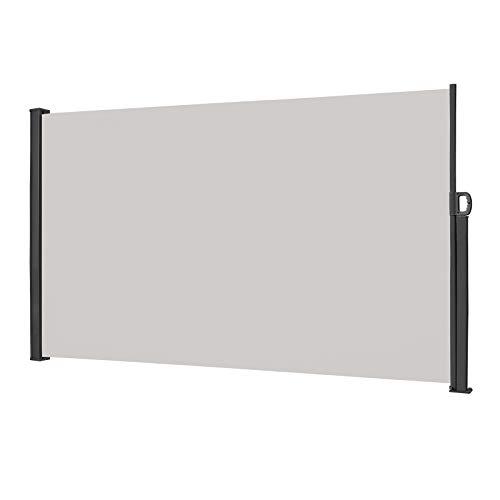 Froadp 180×300cm Ausziehbar Seitenmarkise Robust Polyester Windschutz und Sichtschutz Seitenrollo Markisen für Balkon Terrasse Garten(Hellgrau)