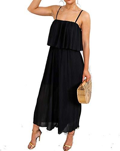 Hi Fashionz Damen Chiffon Plissee Crinkle Jumpsuit Culotte Kleid Damen Riemchen Partykleid Schwarz Mittel/Gro�