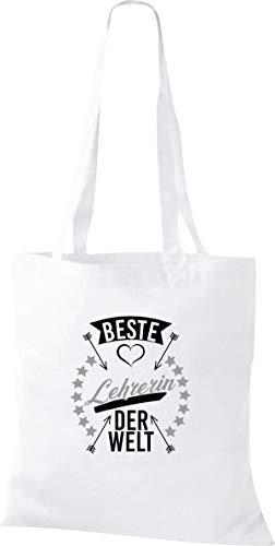 Shirtstown Bolsa de tela, con texto en alemán 'Beste Lehrerin der Welt', 'Danke für die Schöne Zeit', Hort Schul', para profesores, con texto en alemán, color Blanco, talla 38 cm x 42 cm