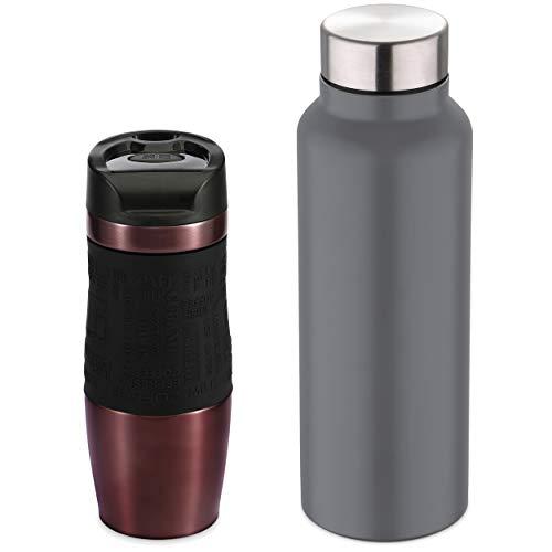 Bergner Termo mug 400ml + Botella de Agua, Acero Inoxidable, Neon Classic, Multicolor, 400 + 750 ml