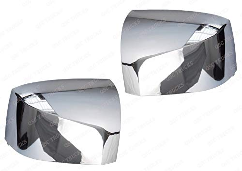 QSC Chrome Hood Mirror Cover Pair Left & Right for Volvo VNL Trucks 04-17