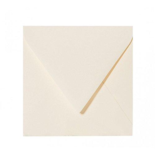 Paper24 50 Quadratische Briefumschläge (120g) Farbe: Zart Creme 150 x 150 mm 15 x 15 cm sehr gute Qualität, mit Dreieckslasche